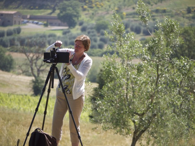 Amanda with her 4x5 in Tuscany
